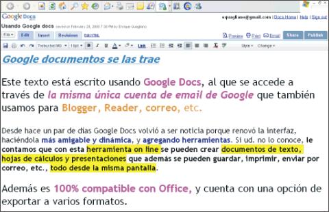 Google Documentos, textos, cálculos y presentaciones, todo en uno